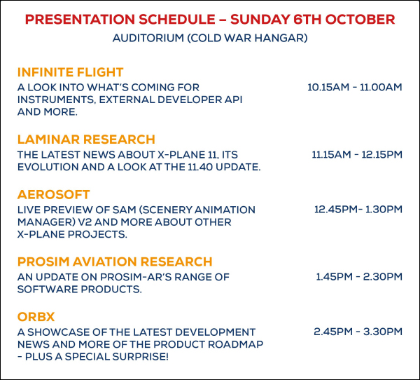 Flight Sim 2019 - Presentations (Sunday 6 October)