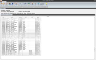 Finance section - Looking at the Cash Book. Displays all debits/credits